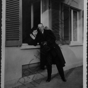 Sergei Rachmaninoff and his eldest daughter Princess Irina Wolkonsky at the guest house at Senar 1932